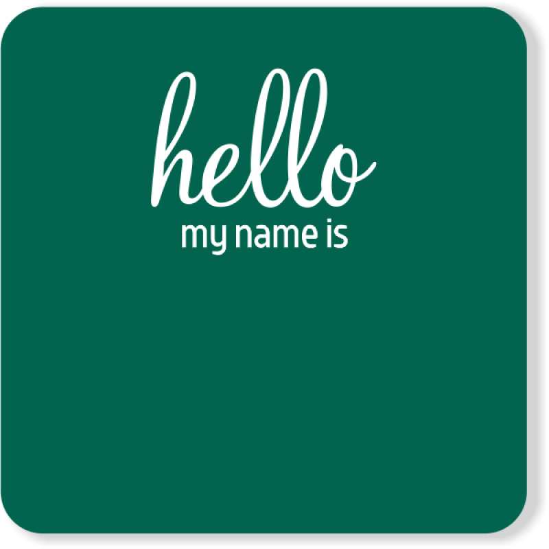 Square Hello My Name is Reusable Name Tag