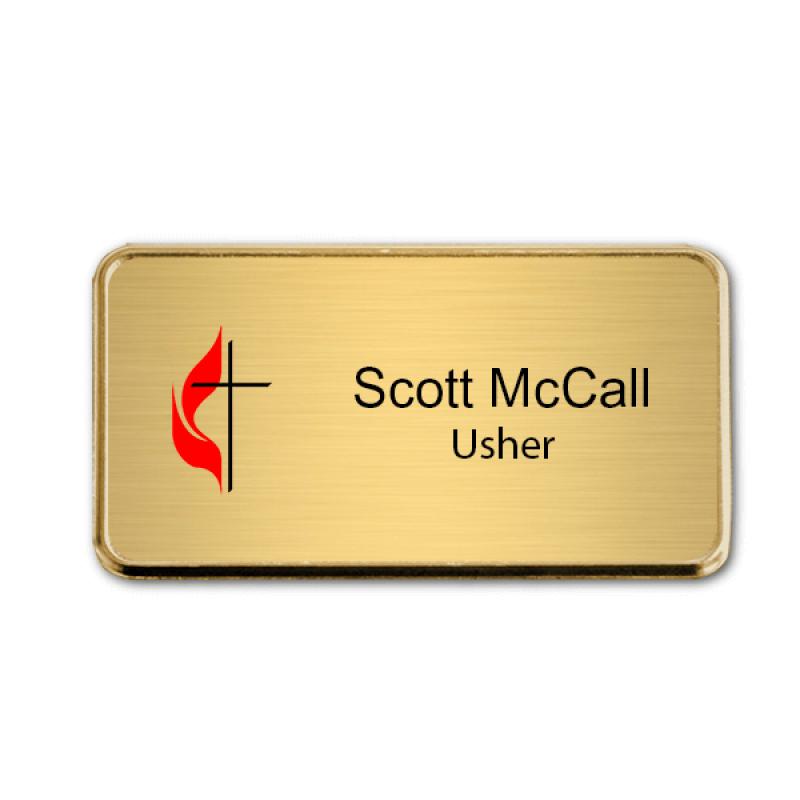 United Methodist Church Name Badge w/ Rounded Corner Frame