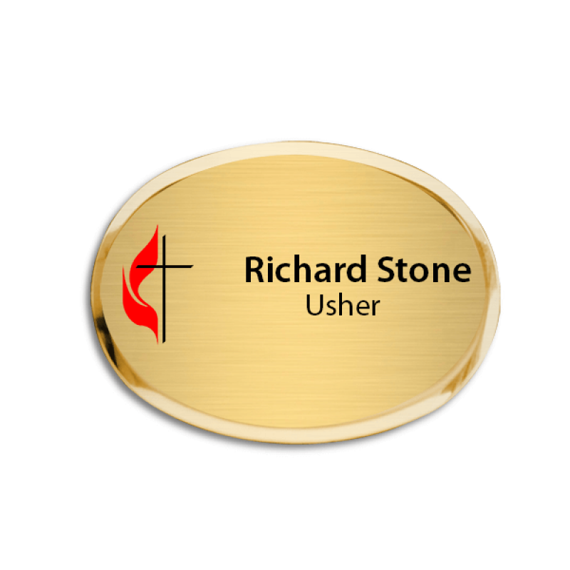 United Methodist Full Color Executive Name Tag - Oval