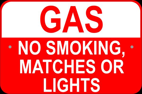 """No Smoking Gas Aluminum Sign   12"""" x 18"""""""