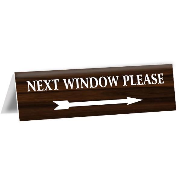 "Next Window Bank Teller Engraved Counter Bent Sign | 2"" x 8"""