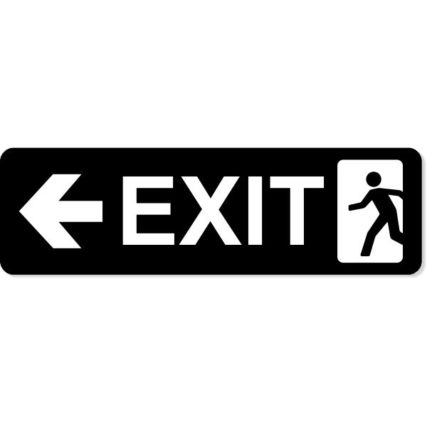 "Exit Left Sign   3"" x 10"""