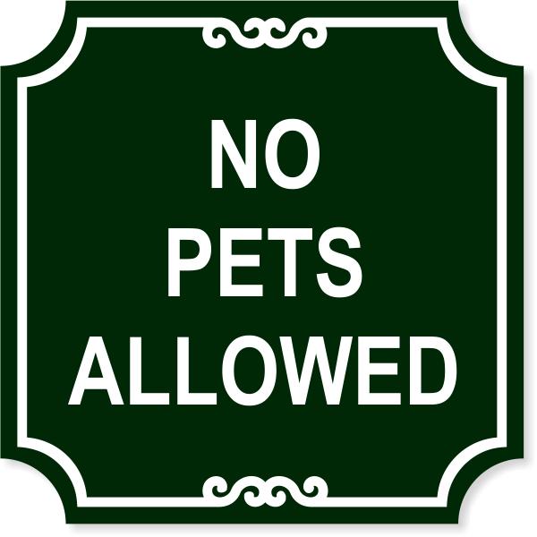 "No Pets Engraved Plastic Sign   12"" x 12"""