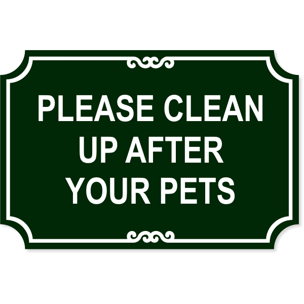 """Pet Clean Up Plastic Engraved Sign   12"""" x 18"""""""