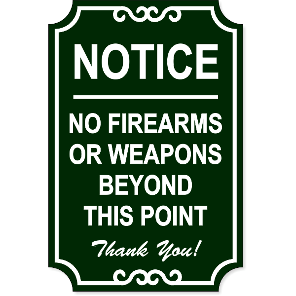 """No Firearms Ornate Sign 