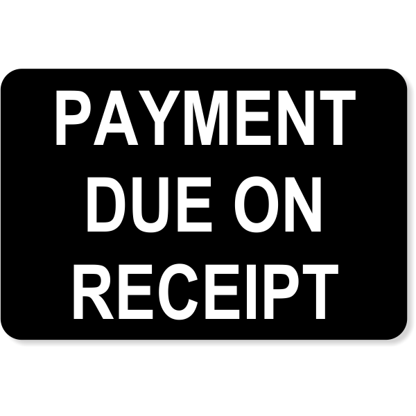 """Engraved Receipt Payment Sign   4"""" x 6"""""""