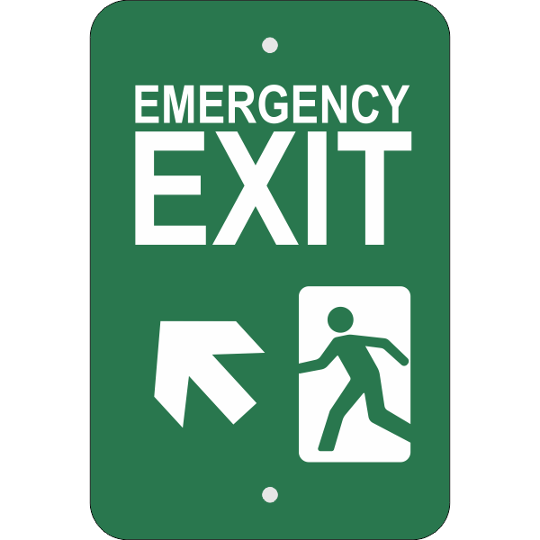 Vertical Forward Left Arrow Emergency Exit Sign