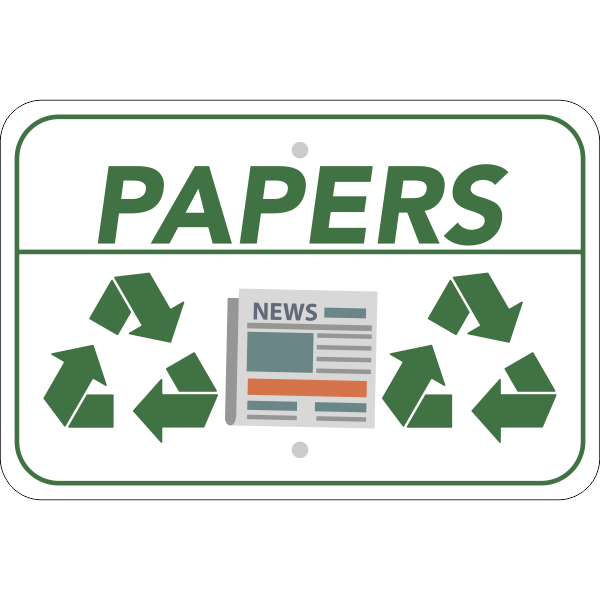 Horizontal Paper Recycling Sign