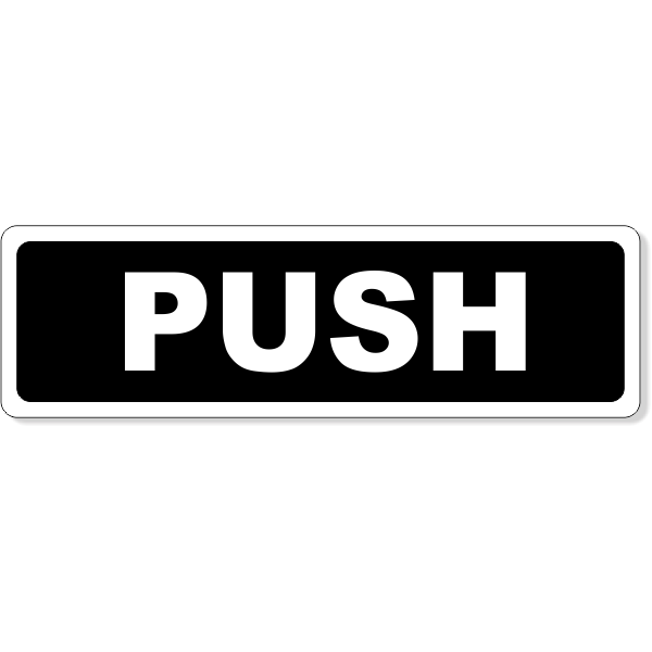 "Push Horizontal Aluminum Sign - 1.5"" x 5"""