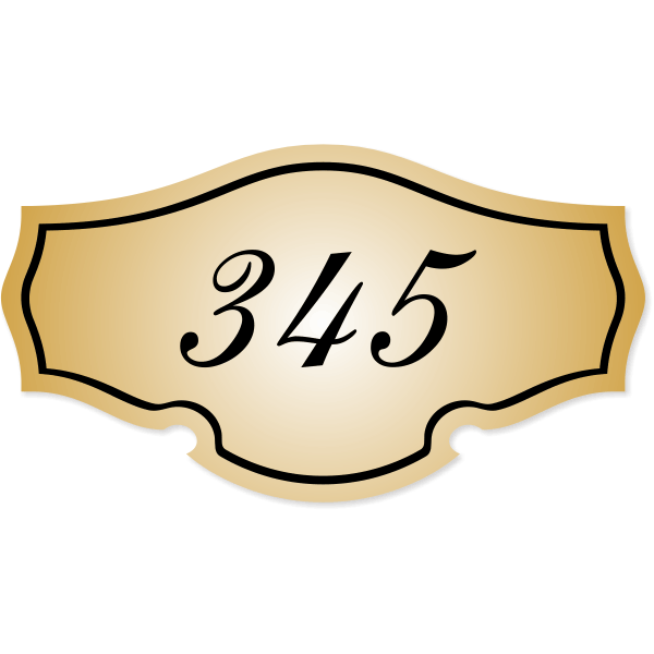 """Engraved Room Number Sign Classic Shape   3"""" x 5.5"""""""