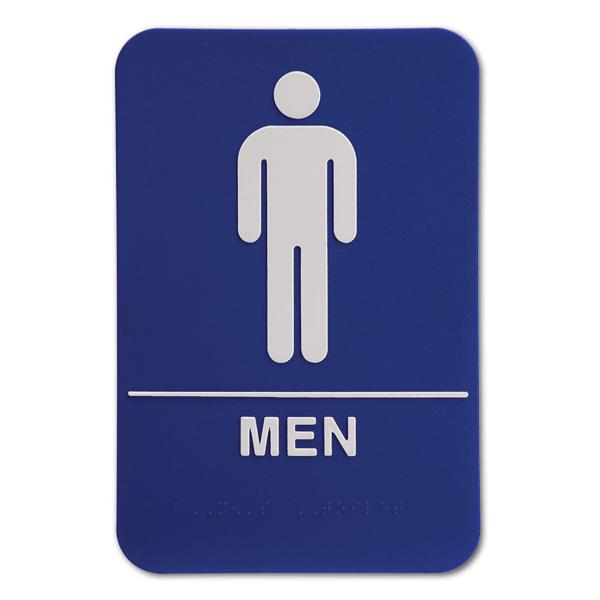 "Blue Men's ADA Braille Restroom Sign   9"" x 6"""
