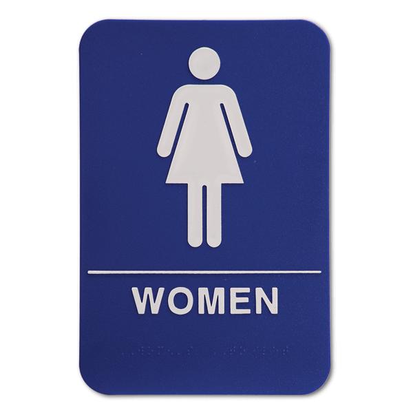 "Blue Women's ADA Braille Restroom Sign | 9"" x 6"""