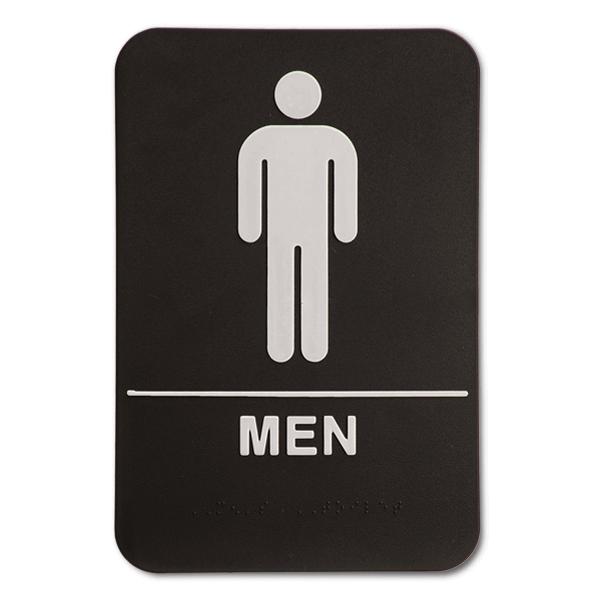 "Black Men's ADA Braille Restroom Sign | 9"" x 6"""