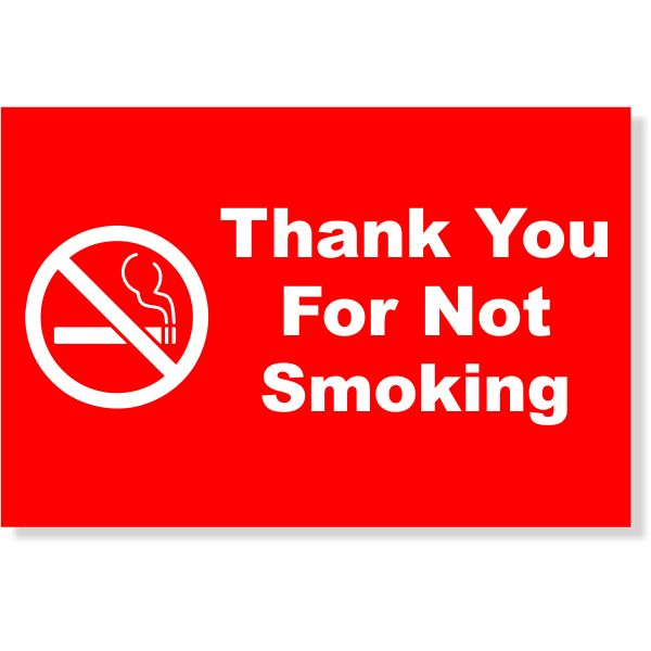"Plastic Thank You For Not Smoking Sign | 4"" x 6"""
