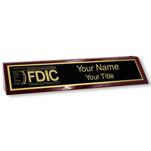 Custom Wood Desk Block with FDIC Logo