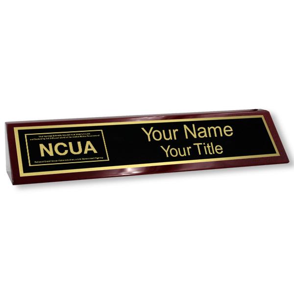 Custom Wood Desk Block with NCUA Logo