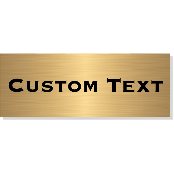 "Single Line Custom Text Brass Plate   3"" x 8"""