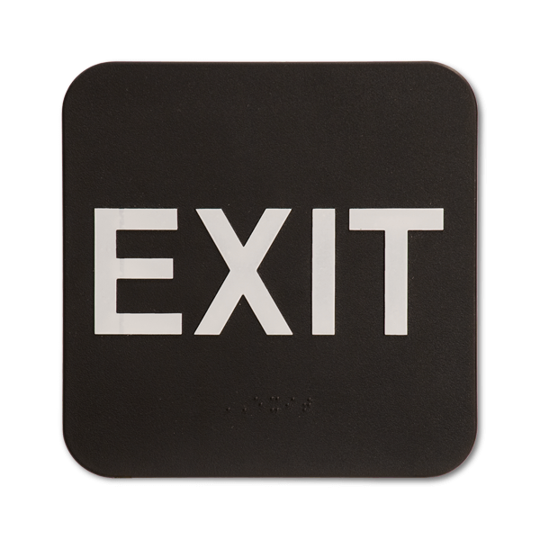 "Black Exit ADA Braille Sign | 6"" x 6"""