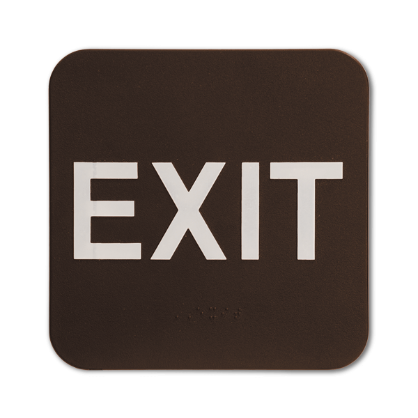 """Brown Exit ADA Braille Sign   6"""" x 6"""""""