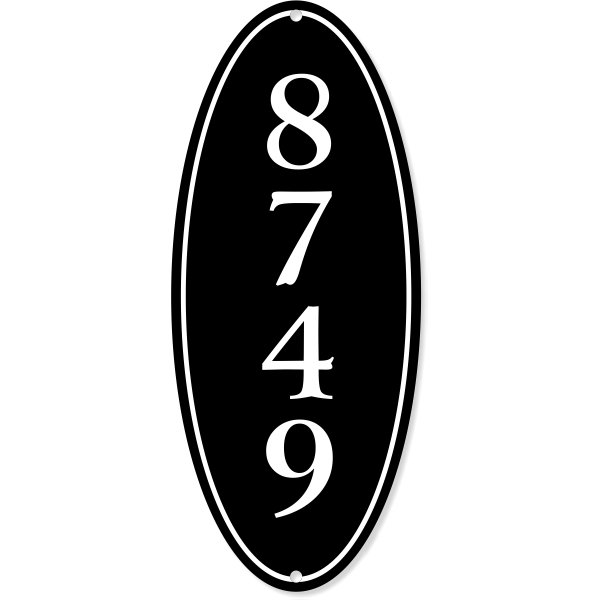 """Vertical Oval Border House Number Sign 
