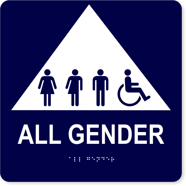 """All Gender Triangle with Symbols - ADA Tactile Sign 