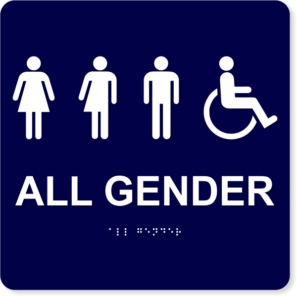 "All Gender Handicapped Sign - ADA Compliant | 10"" x 10"""