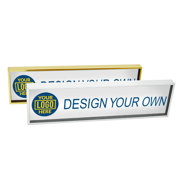 Executive Wall Name Plate Holder with Full Color Insert (Square Corners) 2 in x 8 in