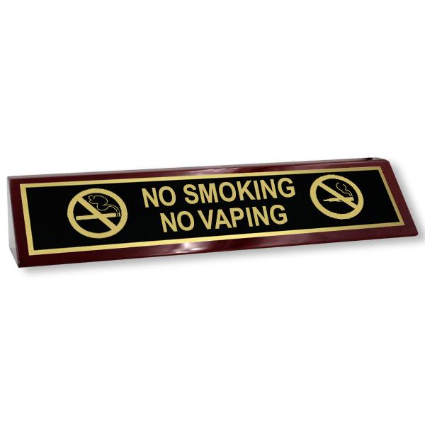 No Smoking | No Vaping Wood Desk Block