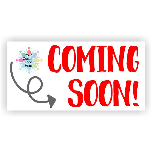 Custom Logo Coming Soon Banner with Arrow - 3' x 6'