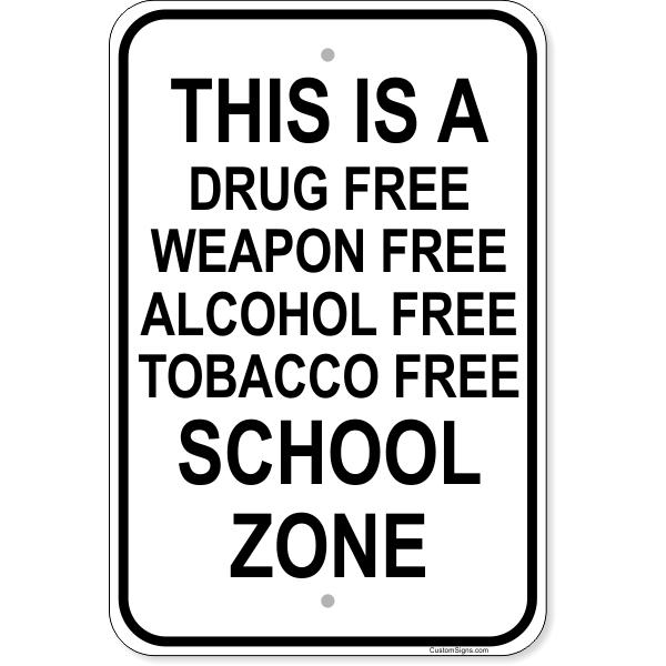 "Firearm School Zone Aluminum Sign   18"" x 12"""