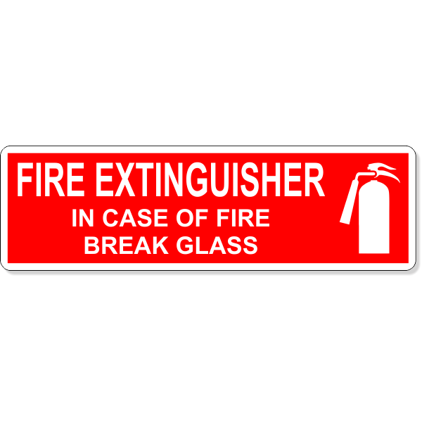 """In Case Of Fire Break Glass Fire Extinguisher Icon Decal 