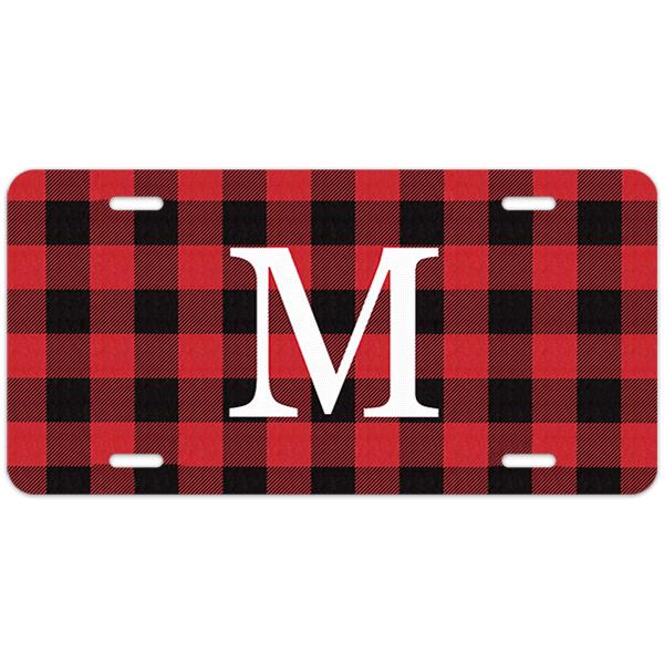 Red Buffalo Plaid Monogram License Plate