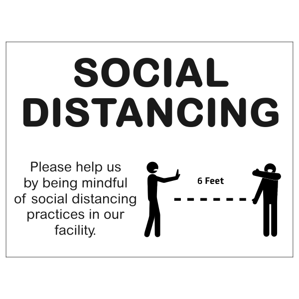 """Mindful of Social Distance Yard Sign   18"""" x 24"""""""