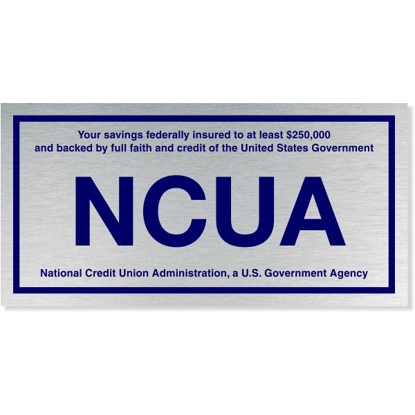 "NCUA Blue / Silver Aluminum Wall Plate | 4"" x 8"""