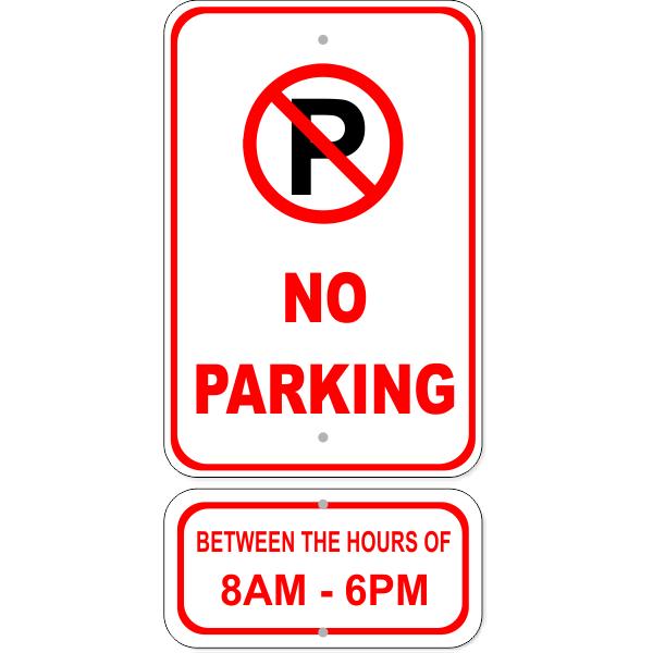 No Parking Hours Aluminum Sign Bundle