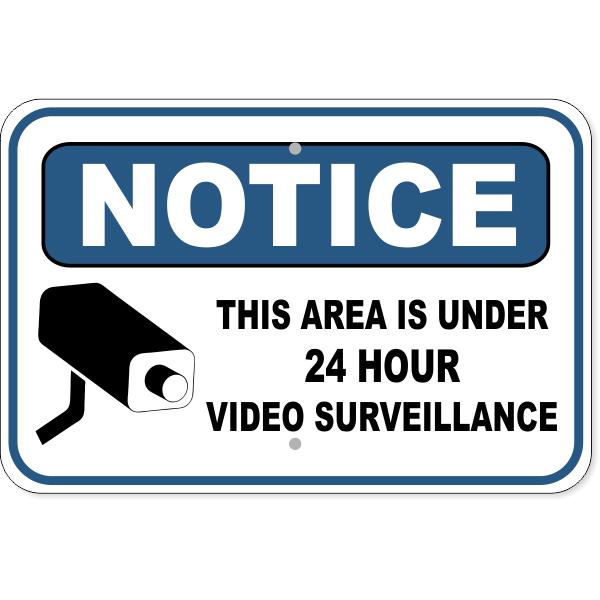"Notice Video Camera Surveillance Aluminum Sign   12"" x 18"""