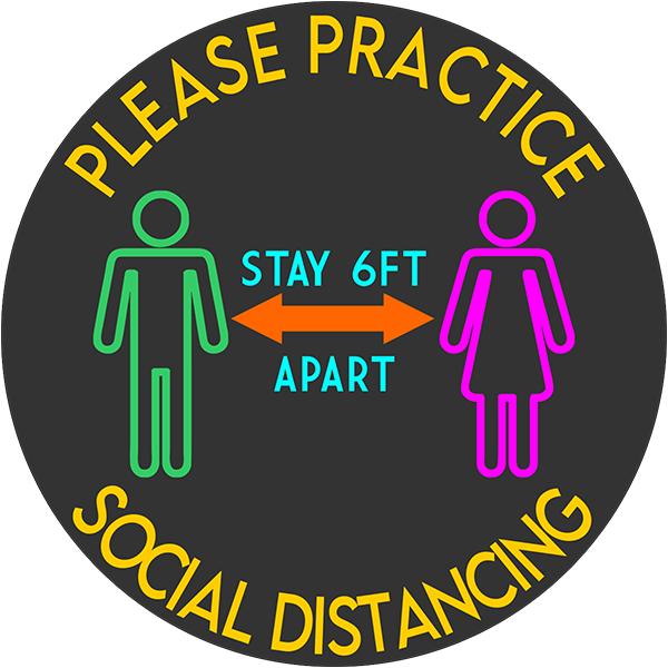 Bright Please Practice Social Distancing Floor Decal