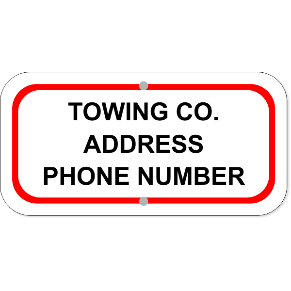 "Tow Company Information Aluminum Sign | 6"" x 12"""