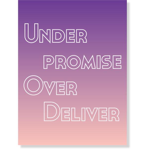 """Under Promise Over Deliver Poster Sign - 18"""" x 24"""""""