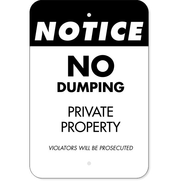 Vertical Private Dump Violators Prosecuted Sign