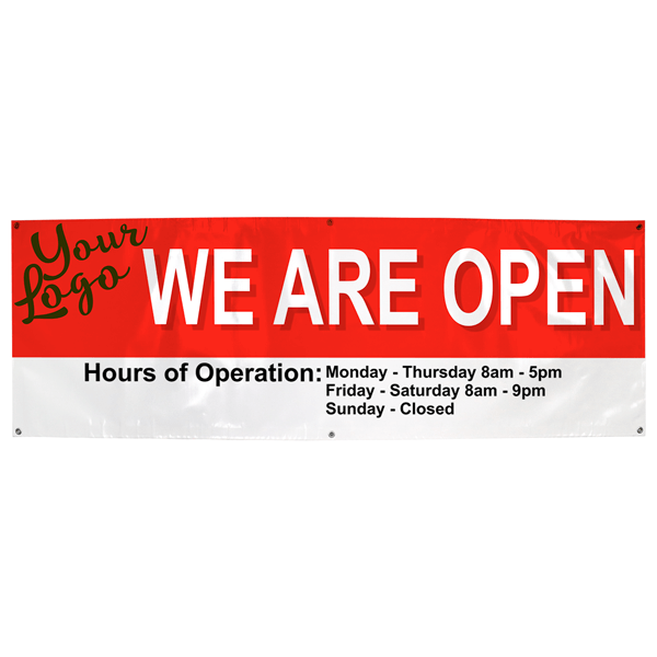 We Are Open Custom Banner with Hours | 2' x 6'