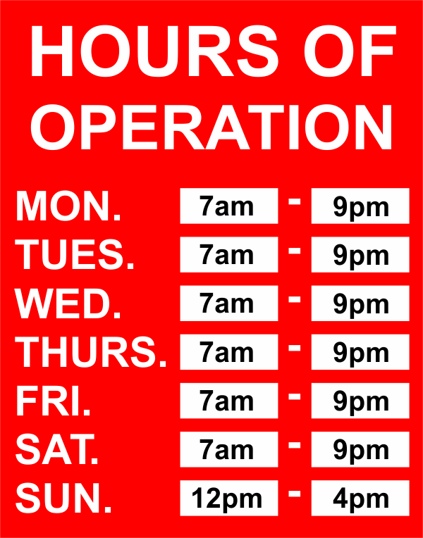 Hours of Operation Vinyl Sign