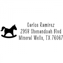 Stamp Wood stamp address temple \u00abhorse Head\u00bb with personal address and motif name horse riding equestrian riding stable Hobby