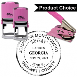 Georgia Notary Pink with Expiration - Round Design Seal