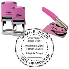Michigan Notary Pink - Round Design Seal