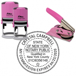 New York Notary Pink with County and Expiration - Round Design Seal