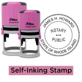 Rhode Island Notary Pink - Round Design Seal