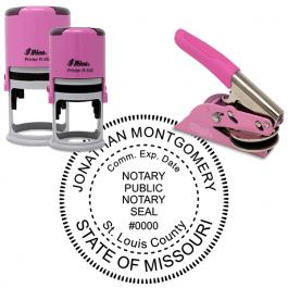 Missouri Notary Pink - Round Design Seal