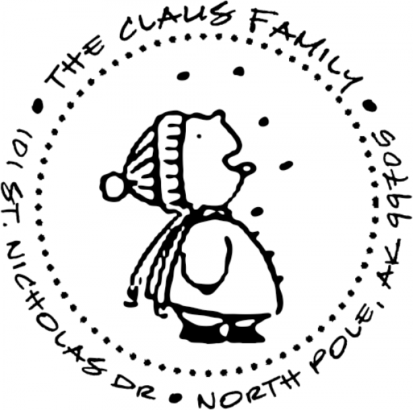 Child Eating Snowflakes rubber address stamp
