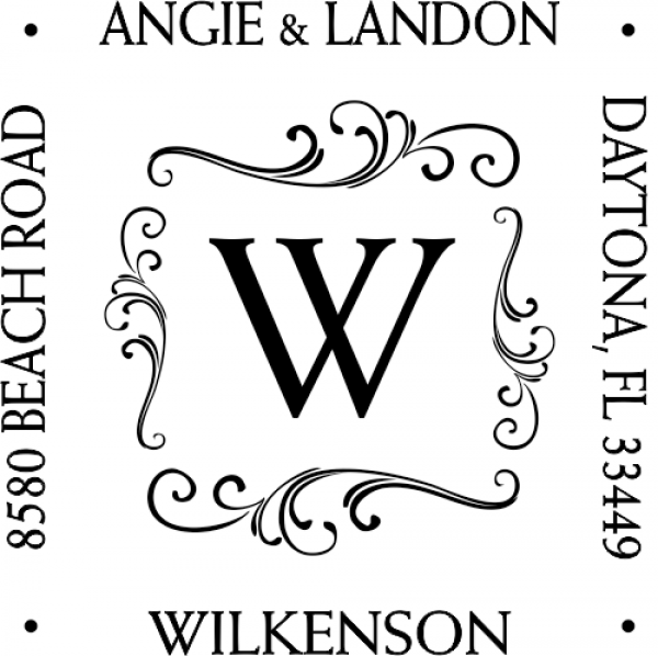monogram square address stamp